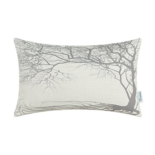 CaliTime Canvas Bolster Pillow Cover Case for Couch Sofa Home Decoration Vintage Big Old Tree 12 X 20 inches Gray