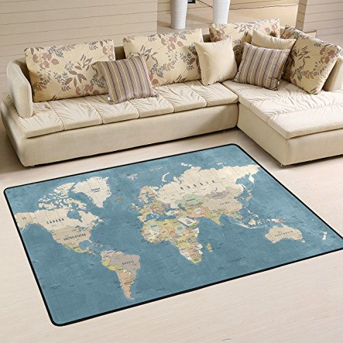 Naanle Education Area Rug 4'x6', World Map Polyester Area Rug Mat for Living Dining Dorm Room Bedroom Home Decorative