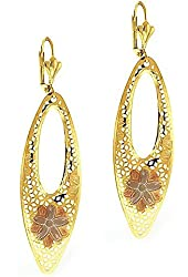 "2.5"" Stunning Oval Dangle Yellow Gold Plated Flower Earrings"