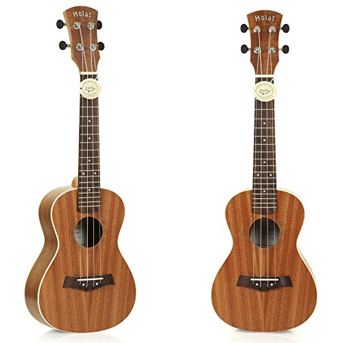 Hola! Music HM-124MG+ Deluxe Concert Ukulele (24 Inch), Mahogany Body with Binding and Aquila Nylgut Strings