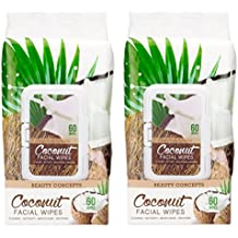 Beauty Concepts - 2 Pack (60 Count Each) Coconut Facial Cleansing Wipes