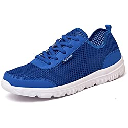 Travfis Loafers Shoes Men Shoes 2017 Summer Fashion Breathable Men Casual Shoes Lace Up Flat Mesh Shoes Plus Size 35-48 Blue 6.5