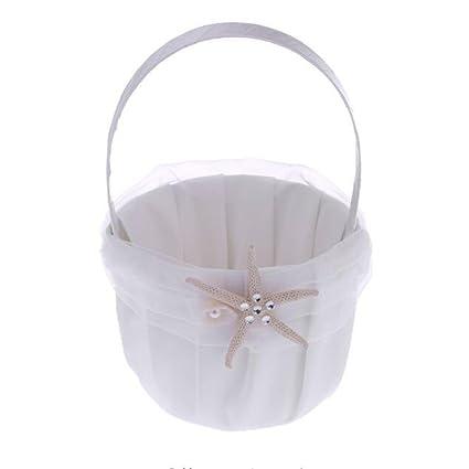 Amazon.com: Romantic Wedding Flower Basket, Bride Flower Basket, Sea ...