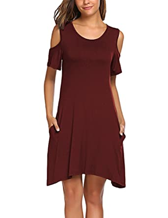 7a3138059a22 OURS Women Sexy Short Sleeve Cold-Shoulder Pockets Beach Dresses Wine Red S