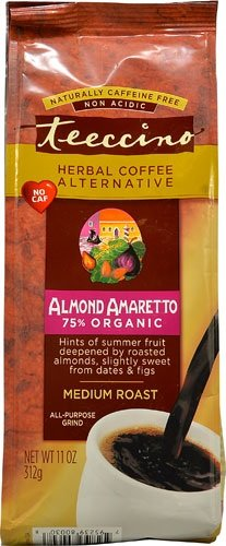 Teeccino Almond Amaretto Herbal Coffee - Teeccino Mediterranean Herbal Coffee - Medium Roast - Almond Amaretto - Caffeine Free - 11 Oz -Pack of 6