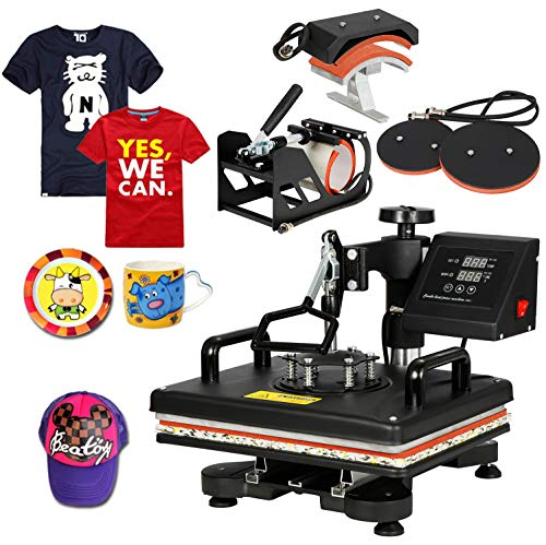 """SUPER DEAL PRO 5 in 1 Heat Press Machine Multifunction Sublimation T Shirt Press ..."