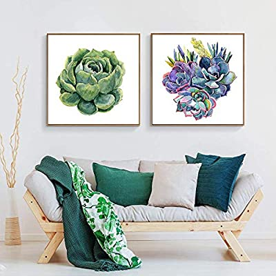 Floating Framed for Living Room Bedroom Green Plant Cactus for x2 Panels, Made For You, Gorgeous Print