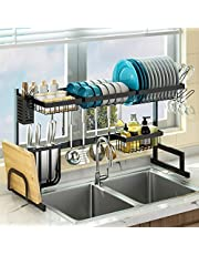 "Over Sink(24""-40"") Dish Drying Rack, Adjustable Large Dish Drainer for Kitchen Storage Counter Organization, 2 Tier Stainless Steel Over Sink Dish Rack Display (Black, 24≤Sink Size≤40inch)"