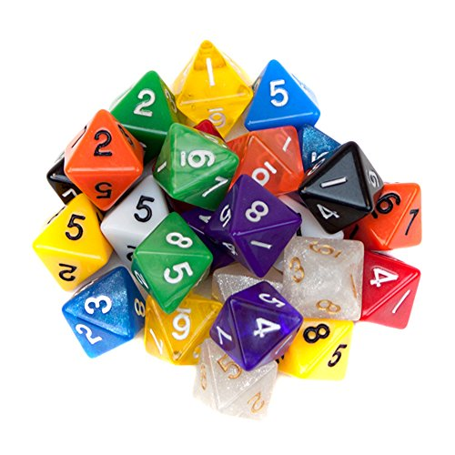 Wiz Dice 25 Pack of Random D8 Polyhedral Dice in Multiple Colors By