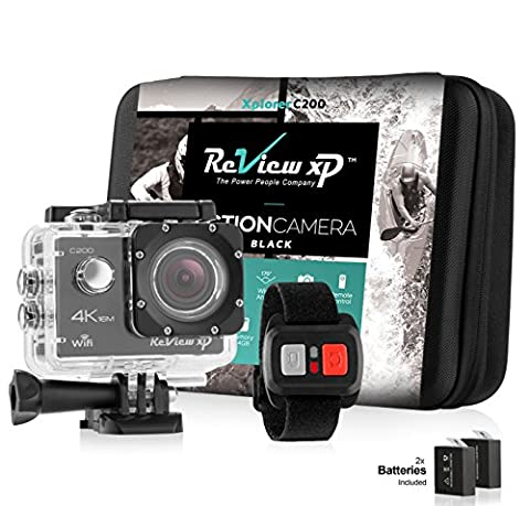 Review XP C200 Action Camera 4K 16MP Ultra HD Sports Waterproof Wi-Fi 170° Wide Angle Lens DV Digital Camcorder 2.4g Remote Control, 2 Batteries 1050mAh, 20+ Mounting Kits + Carrying Case – (Waterproof Camera With Zoom)
