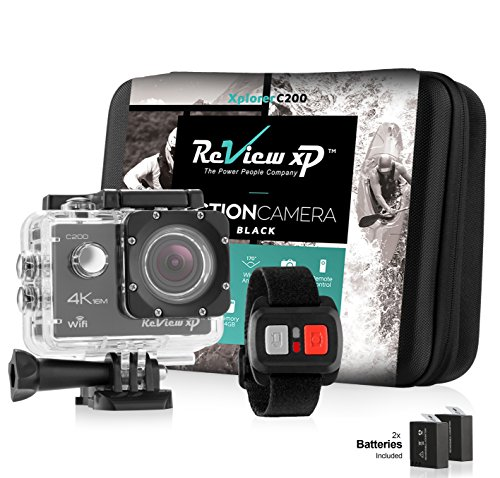 Review XP C200 Action Camera 4K 16MP Ultra HD Sports Waterproof Wi-Fi 170° Wide Angle Lens Underwater DV Digital Camcorder 2.4g Remote Control plus 2 Batteries 1050mAh, Mounting Kits, Carrying Case