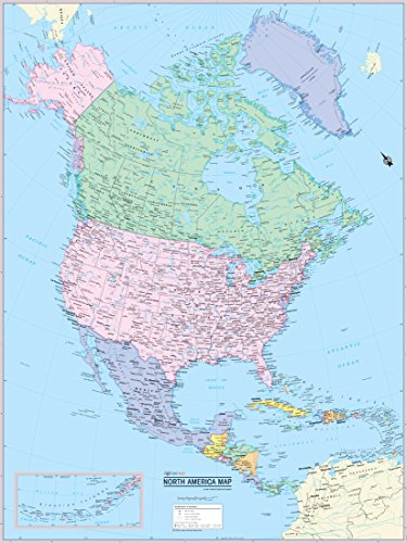 CoolOwlMaps North America Continent Wall Map Poster - Rolled (laminated (America Wall Map)
