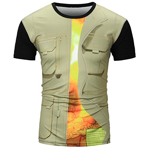 Mens Shirt,Han Shi Fashion Hawaiian 3D Print Casual T Shirt Sports Tees Blouse Tank Tops (M, Khaki)
