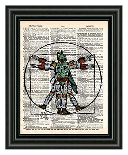 (Boba Fett Davinci Vitruvian Man star wars cool pop art, vintage dictionary art print)