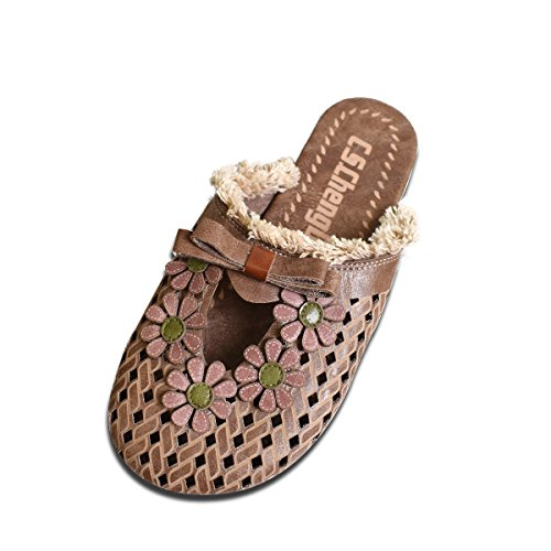 Sandals Flats On Leather Mules 2 Slippers Backless Casual Shoes Closed Coffee Slip Summer Clogs Flower Women Toe wCXvqtC