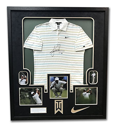 Tiger Woods Tournament Worn & Autographed Nike Golf Polo In 43x49 Frame UDA (Tiger Woods Memorabilia)
