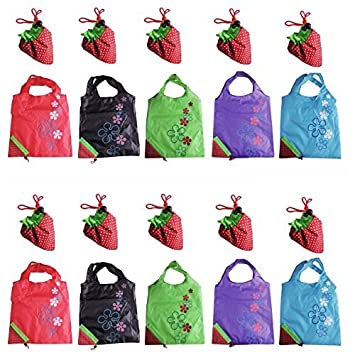 10pcs plegable Lovely fresa reutilizable bolsa de alimentos ...