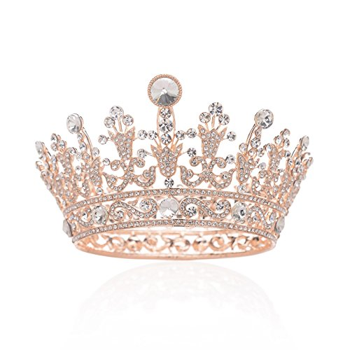 (SWEETV Full Round Crystal Crown Rhinestone Bridal Tiara Princess Headpieces Party Hair Accessories, Rose)