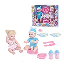 Lifelike Potty Twins Baby Born 12inch Vinyl Doll Set Drink-Pee Training Playhouse Toys Gifts