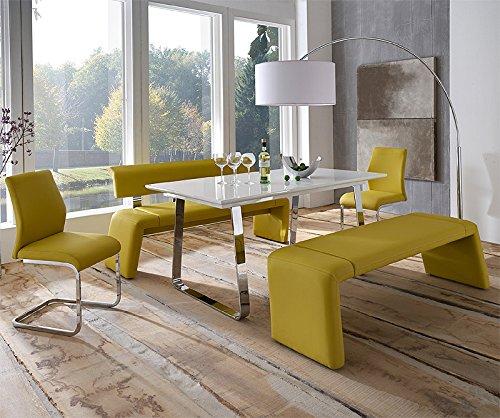 komplett esszimmer set hochglanz wei kunstleder gelb esstisch sitzb nke st hle kaufen. Black Bedroom Furniture Sets. Home Design Ideas