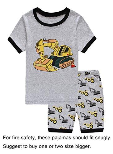 Babypajama Boys' Excavator Pajama Set 2 Piece T-Shirt & Pants Size 4 (Pants Pajamas Shirt)