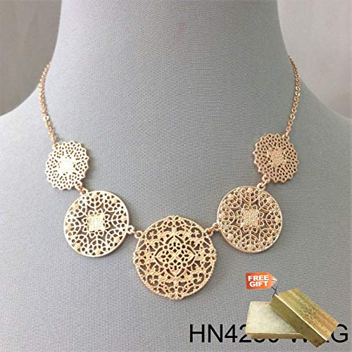 Simple Style Rose Gold Finish Circular Filigree Laser Cut Charm Pendant Necklace Set For Women + Gold Cotton Filled Gift Box for Free ()