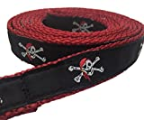 Preston Pirate Dog Collar and Leash Set - Skull and Crossbones on Black Ribbon with Red Nylon Webbing (Extra Small)