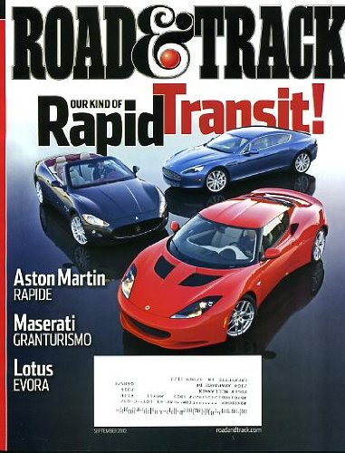 Road & Track September 2010 Aston Martin Rapide & Maserati Granturismo & Lotus Evora on Cover, Callaway Corvette SC606