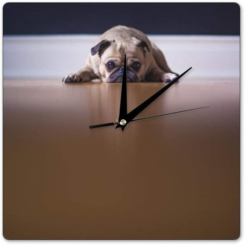 Mesllings Scale-Free Wall Clocks Fawn Pug Lying On Floor Square Wall Clock, Wall Decor Clocks for Kitchen, Office, Retro Hanging Clock, Home Decor Accessories