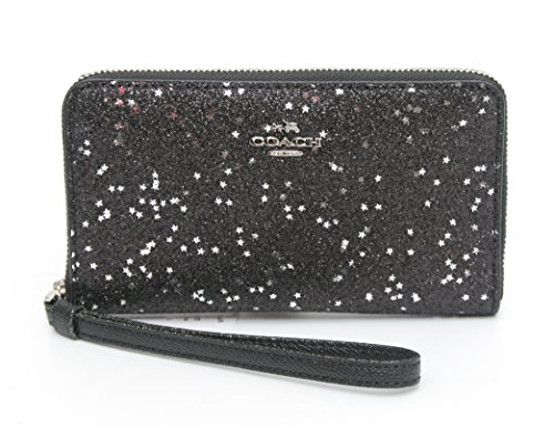COACH STAR GLITTER PRINT PHONE WALLET (SILVER/BLACK) by Coach