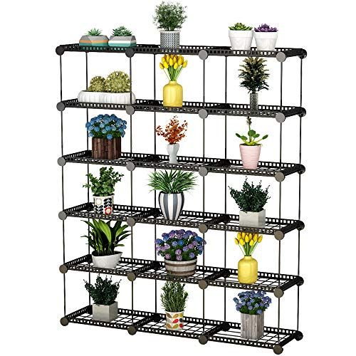 Cheap JYYG Portable Plant Stands Custom Shaped Succulents Pot Shelf Standing Baker's Racks for Flowers Metal Shelving Unit for Green House Indoor Outdoor Multifunction Storage Organizer, 15-Grid Black