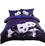 Alicemall 3D Panda Bedding Loving Panda Couple Leaning Together under Deep Blue Galaxy Duvet Cover Set, Full Size College Bedding (Full, Galaxy Panda)