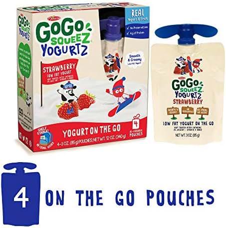 GoGo squeeZ YogurtZ, Strawberry, 3.2 Ounce (4 Pouches), Low Fat Yogurt, Gluten Free, Healthy Snacks, Reusable, BPA Free Pouches