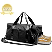 Dry Wet Separated Gym Bag, Sport Gym Duffle Holdall Bag Training Handbag Yoga bag Travel Overnight Weekend Shoulder Tote Bag with Shoes Compartment for Man and Women