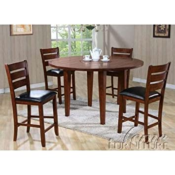 5pc Drop Leaf Round/Square Counter Height Dining Table U0026 Stools Set In  Cherry Finish