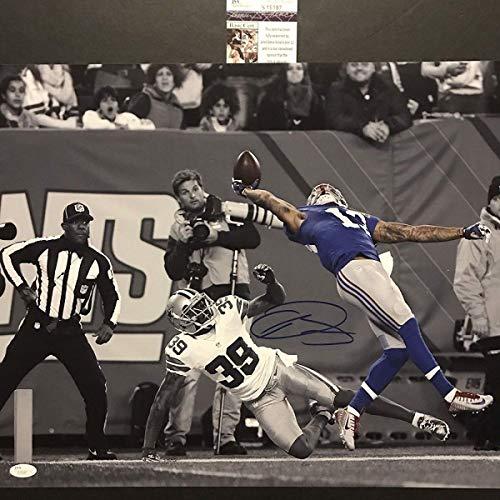 (Autographed/Signed Odell Beckham Jr. The Catch New York Giants Spotlight 16x20 Football Photo JSA COA #3)