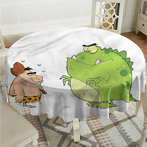 Tim1Beve Jurassic Indoor/Outdoor Round Tablecloth Caveman Angry Dinosaur for Banquet Decoration Dining Table Cover D54 -