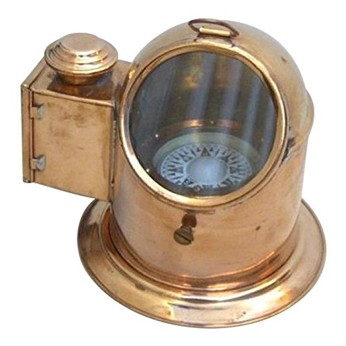Copper and Brass Binnacle Compass with Oil Lamp Outdoor Camping Gear By Nauticalmart by NAUTICALMART