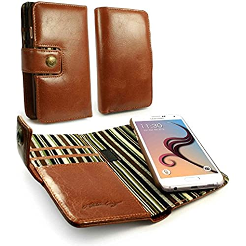 Alston Craig Personalised Genuine Vintage Leather Magnetic Wallet Case Cover for Samsung Galaxy S8 Plus - Brown Sales