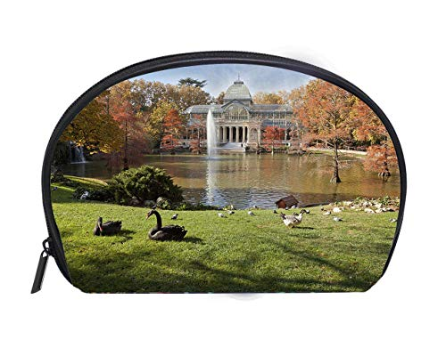 Portable Toiletry Cosmetic Bag A Crystal Palace in Retiro Park Madrid Ladies Travel Convenience Small Wash Bag Storage Bag