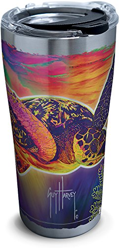 Tervis 1294390 Guy Harvey-Neon Turtle Tumbler with Clear and Black Hammer Lid, 20 oz Stainless Steel, Silver