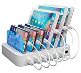 Hercules Tuff White Multiple USB Charger Station 2-in-1 - Short Cables Included for lphone - lpad - Tablets - 50W 10A - Rare White Color Charging Station