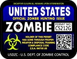 "ProSticker 1202 (TWO pack) 3""x 4"" Zombie Series ""United States"" Hunting License Permit Decal Sticker"
