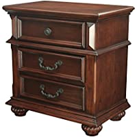 HOMES: Inside + Out Iohomes Prompe 3-Drawer Nightstand, Antique Dark Oak