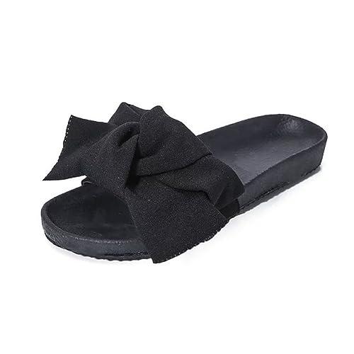 b677e52ae213c Amazon.com   T-JULY Womens Ladies Slide Sandals Handmade Bow Tie ...
