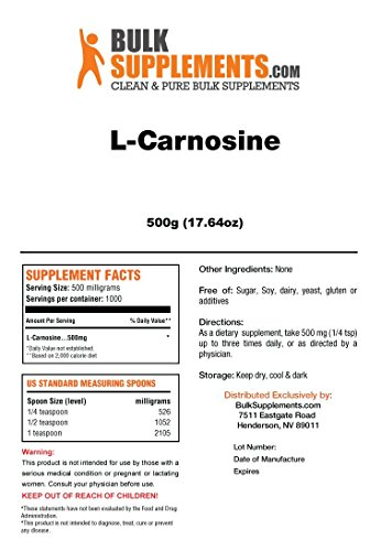 BulkSupplements L-Carnosine Powder 500 grams