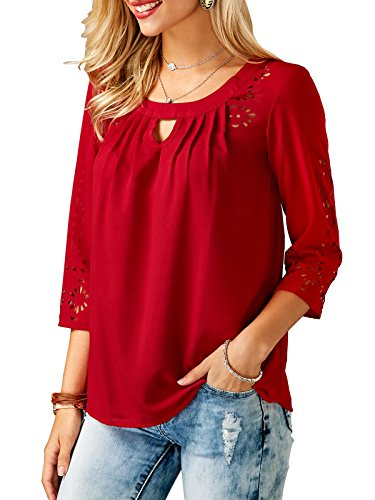 Eliber Women's Plain Round Neck 3/4 Sleeve Ruffle Blouse Tops Loose Shirt ()
