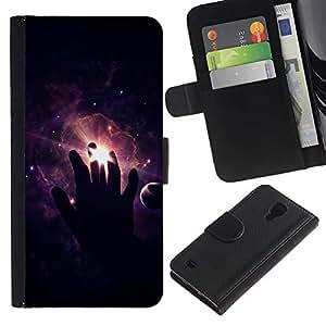 LECELL--Cuero de la tarjeta la carpeta del tirón Smartphone Slots Protección Holder For Samsung Galaxy S4 IV I9500 -- Espacio Mano --