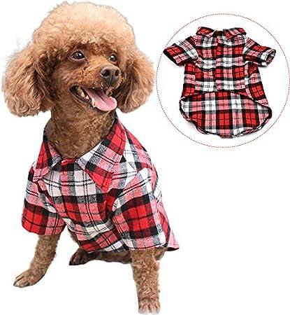 0132227bf46b Amazon.com : BINGPET Plaid Dog Shirt Checkered Dogs Clothes Medium ...