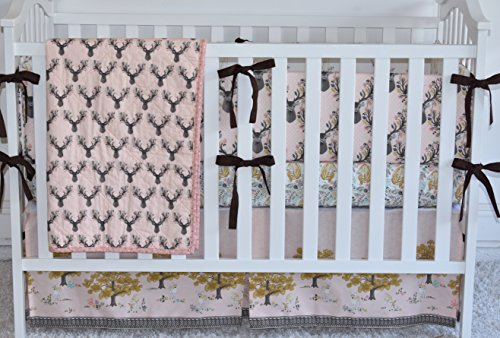 Antlers in Shell Crib Bedding, antlers, deer, fawn, sheet, quilt , skirt by M&G Baby Glam